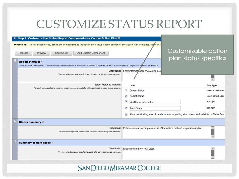CUSTOMIZE STATUS REPORT Customizable action plan status specifics