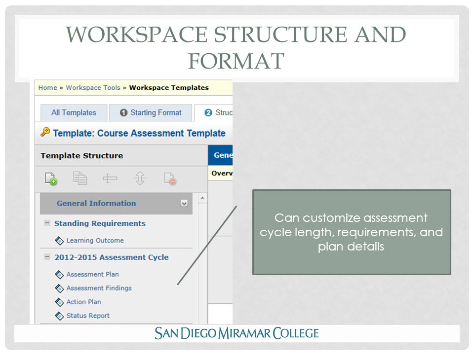 WORKSPACE STRUCTURE AND FORMAT Can customize assessment cycle length, requirements, and plan details