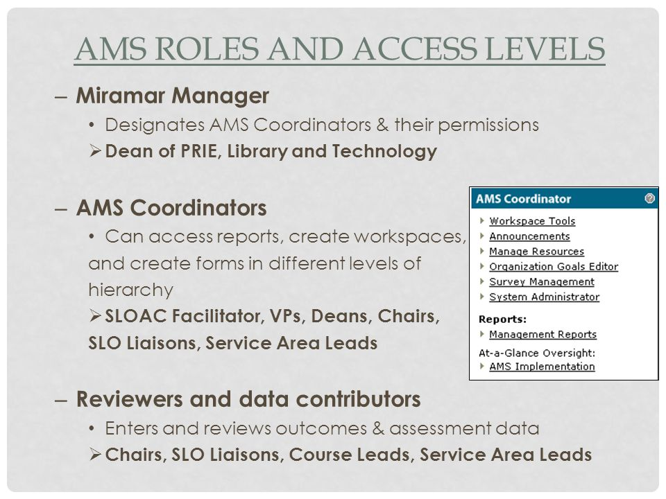 AMS ROLES AND ACCESS LEVELS – Miramar Manager Designates AMS Coordinators & their permissions  Dean of PRIE, Library and Technology – AMS Coordinators Can access reports, create workspaces, and create forms in different levels of hierarchy  SLOAC Facilitator, VPs, Deans, Chairs, SLO Liaisons, Service Area Leads – Reviewers and data contributors Enters and reviews outcomes & assessment data  Chairs, SLO Liaisons, Course Leads, Service Area Leads
