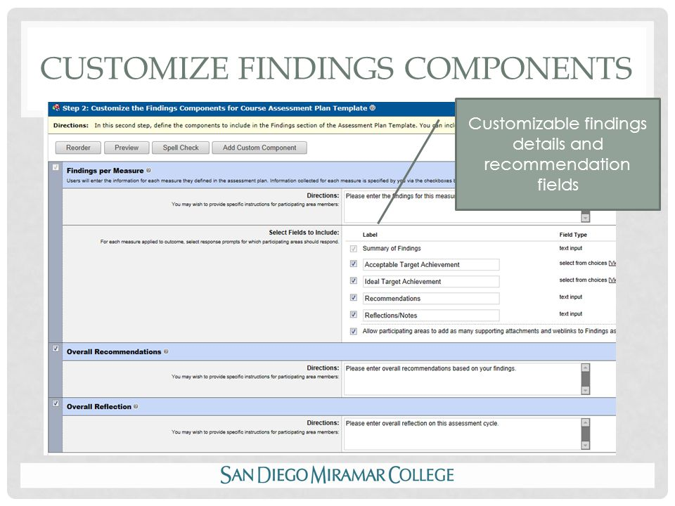 CUSTOMIZE FINDINGS COMPONENTS Customizable findings details and recommendation fields