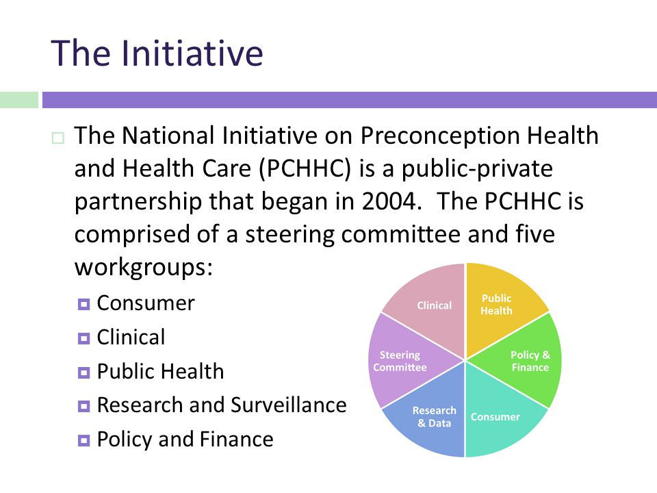 The Initiative  The National Initiative on Preconception Health and Health Care (PCHHC) is a public-private partnership that began in 2004.