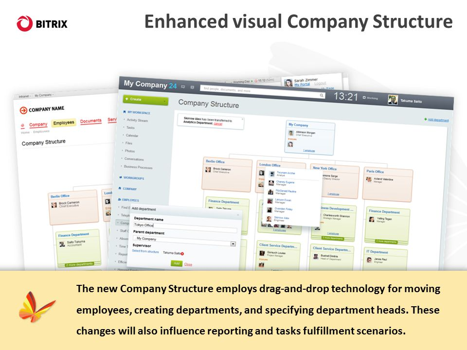 Enhanced visual Company Structure The new Company Structure employs drag-and-drop technology for moving employees, creating departments, and specifying department heads.