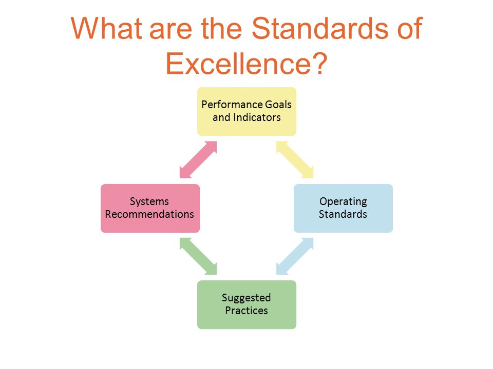 Performance Goals and Indicators Operating Standards Suggested Practices Systems Recommendations What are the Standards of Excellence