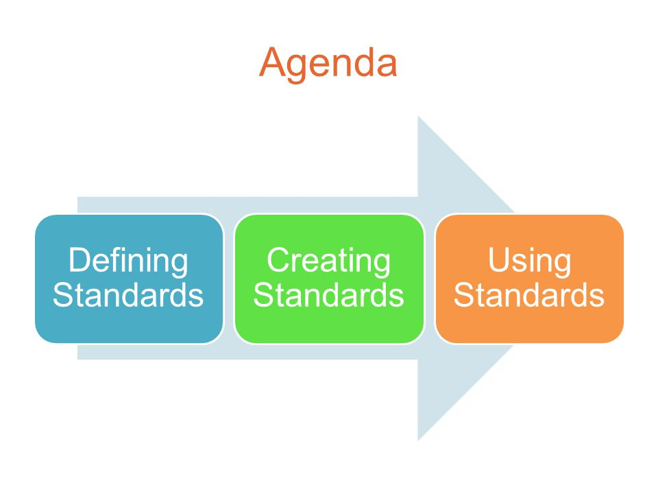 Agenda Defining Standards Creating Standards Using Standards