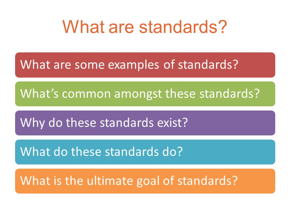 The Intent of Standards What Standards are Meant to DoWhat Standards are NOT Meant to Do Identify opportunities for capacity building and creating more effective programs.