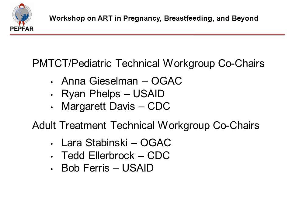 PMTCT/Pediatric Technical Workgroup Co-Chairs Anna Gieselman – OGAC Ryan Phelps – USAID Margarett Davis – CDC Adult Treatment Technical Workgroup Co-C