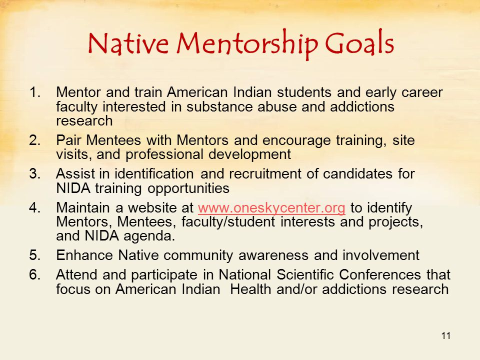 Native Mentorship Goals 1.Mentor and train American Indian students and early career faculty interested in substance abuse and addictions research 2.Pair Mentees with Mentors and encourage training, site visits, and professional development 3.Assist in identification and recruitment of candidates for NIDA training opportunities 4.Maintain a website at www.oneskycenter.org to identify Mentors, Mentees, faculty/student interests and projects, and NIDA agenda.www.oneskycenter.org 5.Enhance Native community awareness and involvement 6.Attend and participate in National Scientific Conferences that focus on American Indian Health and/or addictions research 11