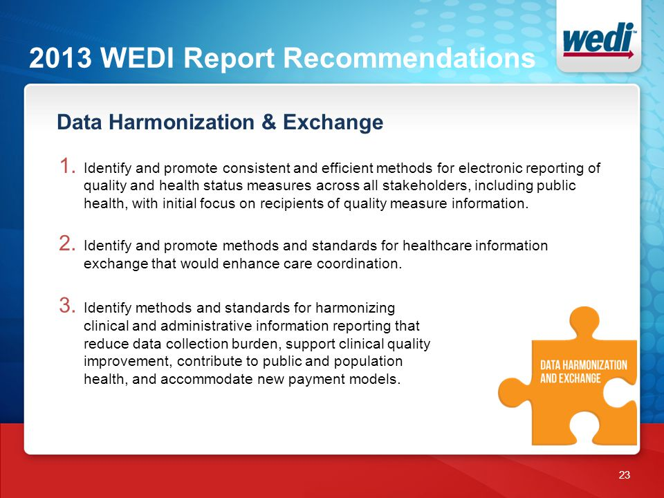 2013 WEDI Report Recommendations 23 1.