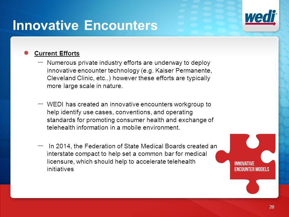 Innovative Encounters 28 ● Current Efforts – Numerous private industry efforts are underway to deploy innovative encounter technology (e.g.