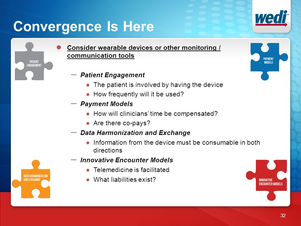 Convergence Is Here 32 ● Consider wearable devices or other monitoring / communication tools – Patient Engagement ●The patient is involved by having the device ●How frequently will it be used.