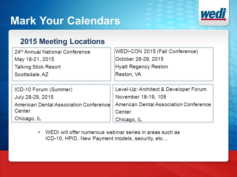 Mark Your Calendars 2015 Meeting Locations 24 th Annual National Conference May 18-21, 2015 Talking Stick Resort Scottsdale, AZ ICD-10 Forum (Summer) July 28-29, 2015 American Dental Association Conference Center Chicago, IL WEDI-CON 2015 (Fall Conference) October 26-29, 2015 Hyatt Regency Reston Reston, VA Level-Up: Architect & Developer Forum November 18-19, 105 American Dental Association Conference Center Chicago, IL WEDI will offer numerous webinar series in areas such as ICD-10, HPID, New Payment models, security, etc…