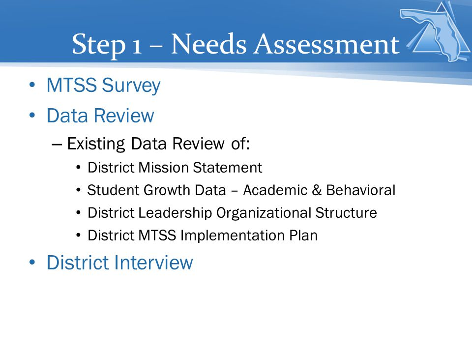 Step 1 – Needs Assessment MTSS Survey Data Review – Existing Data Review of: District Mission Statement Student Growth Data – Academic & Behavioral Di
