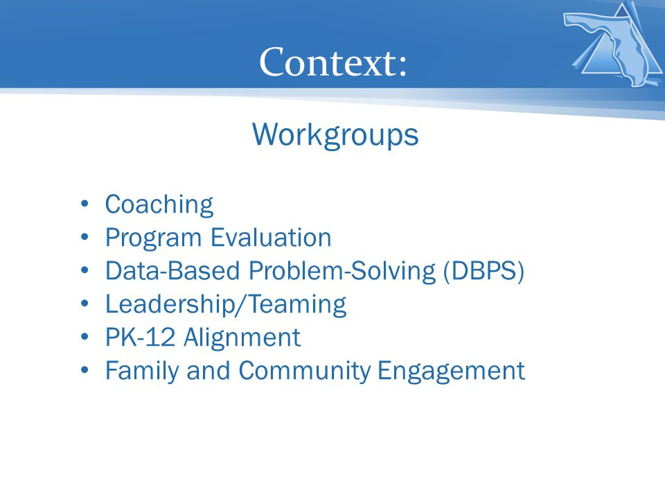 Context: Workgroups Coaching Program Evaluation Data-Based Problem-Solving (DBPS) Leadership/Teaming PK-12 Alignment Family and Community Engagement