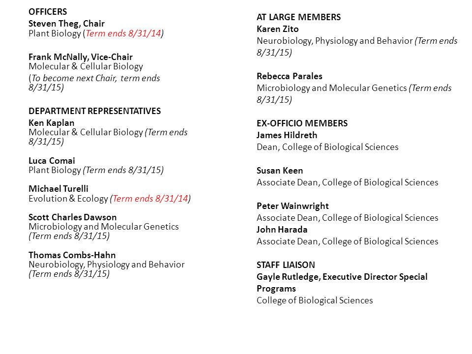 OFFICERS Steven Theg, Chair Plant Biology (Term ends 8/31/14) Frank McNally, Vice-Chair Molecular & Cellular Biology (To become next Chair, term ends 8/31/15) DEPARTMENT REPRESENTATIVES Ken Kaplan Molecular & Cellular Biology (Term ends 8/31/15) Luca Comai Plant Biology (Term ends 8/31/15) Michael Turelli Evolution & Ecology (Term ends 8/31/14) Scott Charles Dawson Microbiology and Molecular Genetics (Term ends 8/31/15) Thomas Combs-Hahn Neurobiology, Physiology and Behavior (Term ends 8/31/15) AT LARGE MEMBERS Karen Zito Neurobiology, Physiology and Behavior (Term ends 8/31/15) Rebecca Parales Microbiology and Molecular Genetics (Term ends 8/31/15) EX-OFFICIO MEMBERS James Hildreth Dean, College of Biological Sciences Susan Keen Associate Dean, College of Biological Sciences Peter Wainwright Associate Dean, College of Biological Sciences John Harada Associate Dean, College of Biological Sciences STAFF LIAISON Gayle Rutledge, Executive Director Special Programs College of Biological Sciences