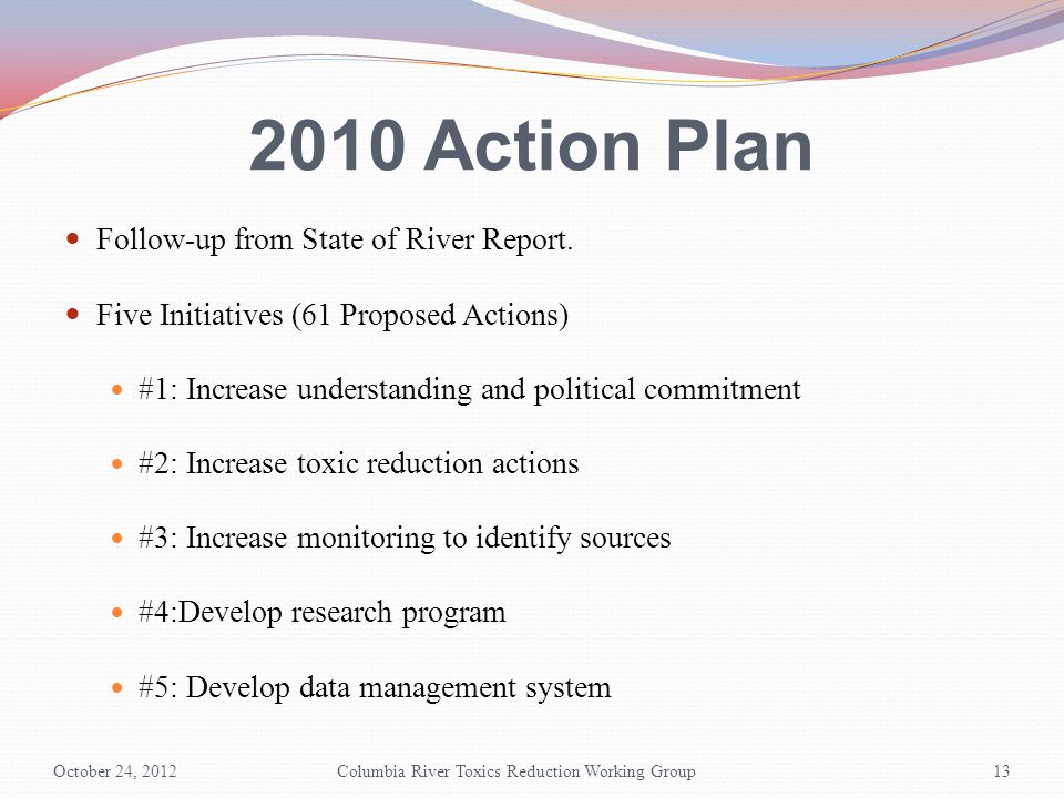 2010 Action Plan Follow-up from State of River Report.
