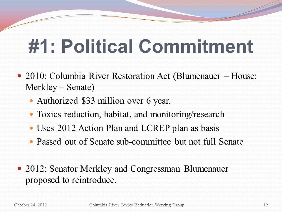 #1: Political Commitment 2010: Columbia River Restoration Act (Blumenauer – House; Merkley – Senate) Authorized $33 million over 6 year. Toxics reduct
