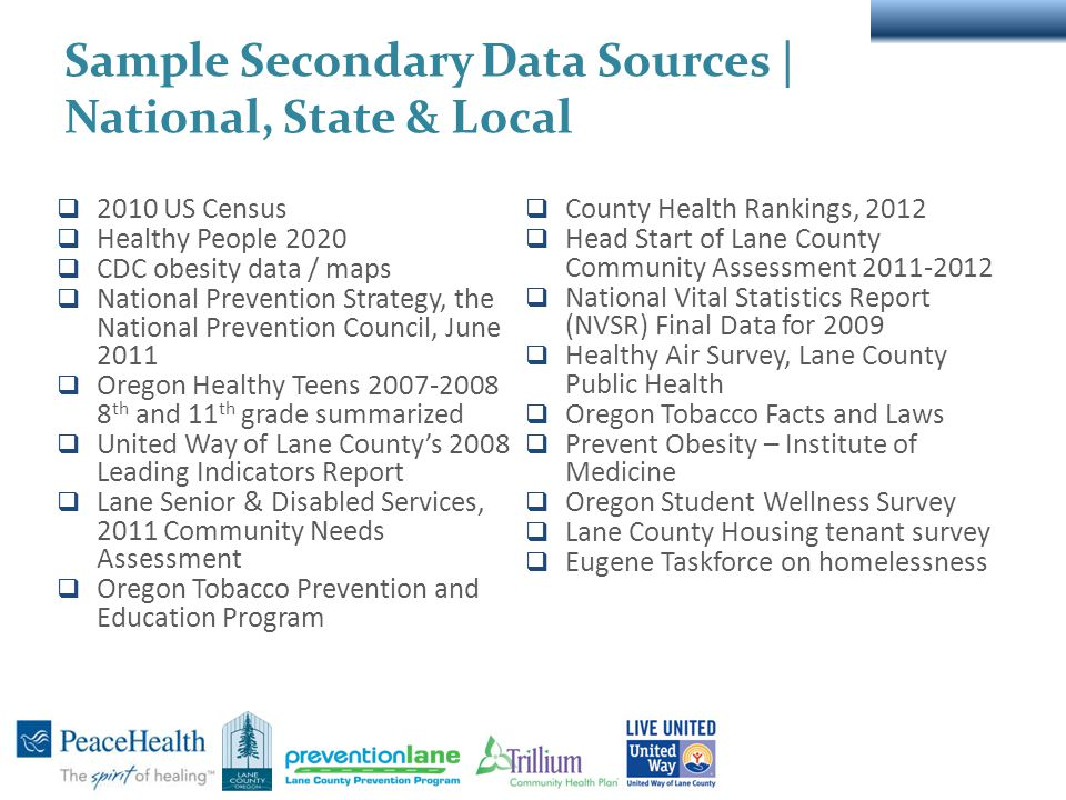 Sample Secondary Data Sources | National, State & Local  2010 US Census  Healthy People 2020  CDC obesity data / maps  National Prevention Strategy, the National Prevention Council, June 2011  Oregon Healthy Teens 2007-2008 8 th and 11 th grade summarized  United Way of Lane County's 2008 Leading Indicators Report  Lane Senior & Disabled Services, 2011 Community Needs Assessment  Oregon Tobacco Prevention and Education Program  County Health Rankings, 2012  Head Start of Lane County Community Assessment 2011-2012  National Vital Statistics Report (NVSR) Final Data for 2009  Healthy Air Survey, Lane County Public Health  Oregon Tobacco Facts and Laws  Prevent Obesity – Institute of Medicine  Oregon Student Wellness Survey  Lane County Housing tenant survey  Eugene Taskforce on homelessness