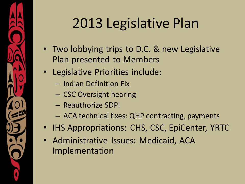 2013 Legislative Plan Two lobbying trips to D.C.
