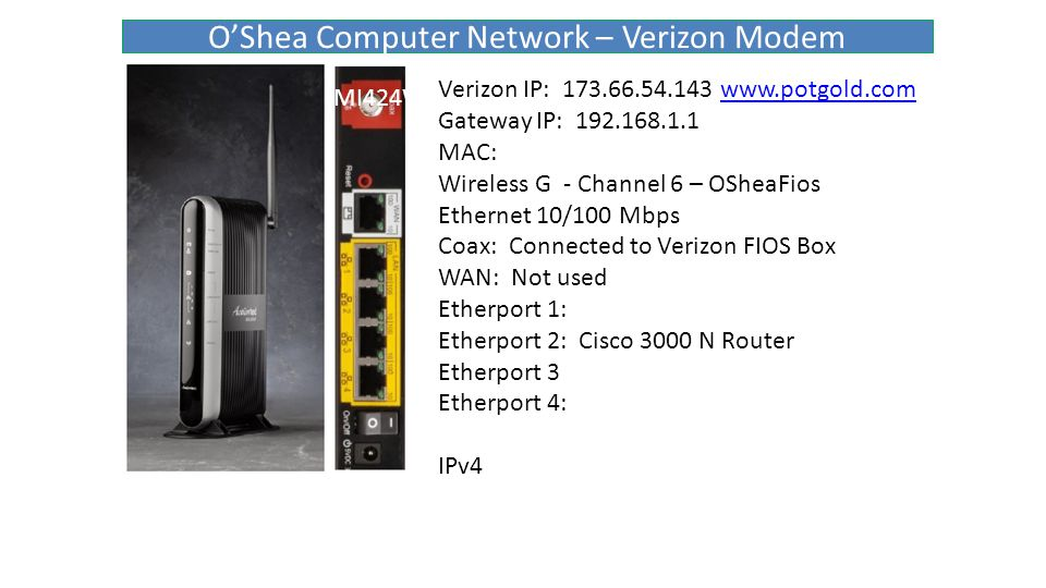 O'Shea Computer Network – Verizon Modem MI424WR Verizon IP: 173.66.54.143 www.potgold.comwww.potgold.com Gateway IP: 192.168.1.1 MAC: Wireless G - Channel 6 – OSheaFios Ethernet 10/100 Mbps Coax: Connected to Verizon FIOS Box WAN: Not used Etherport 1: Etherport 2: Cisco 3000 N Router Etherport 3 Etherport 4: IPv4