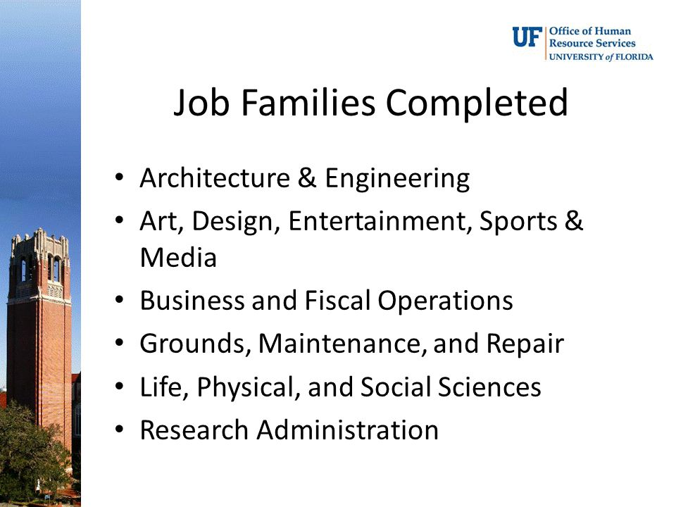 Job Families Completed Architecture & Engineering Art, Design, Entertainment, Sports & Media Business and Fiscal Operations Grounds, Maintenance, and Repair Life, Physical, and Social Sciences Research Administration