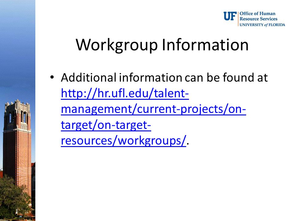 Workgroup Information Additional information can be found at http://hr.ufl.edu/talent- management/current-projects/on- target/on-target- resources/workgroups/.