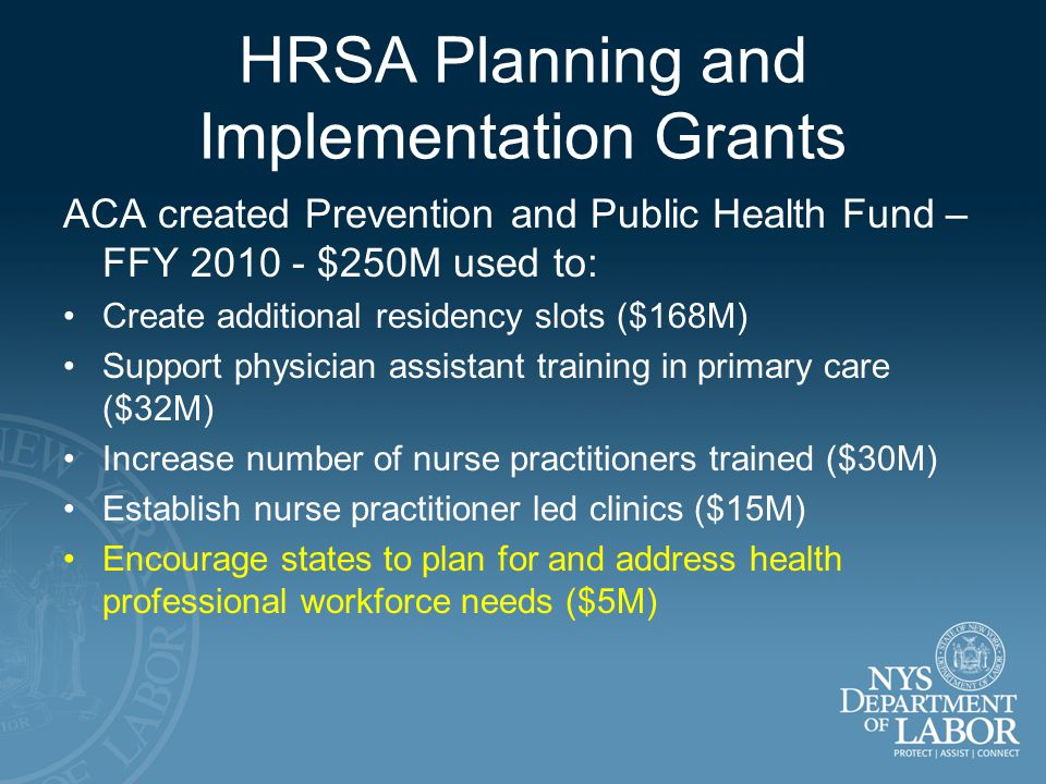 HRSA Planning and Implementation Grants ACA created Prevention and Public Health Fund – FFY $250M used to: Create additional residency slots ($168M) Support physician assistant training in primary care ($32M) Increase number of nurse practitioners trained ($30M) Establish nurse practitioner led clinics ($15M) Encourage states to plan for and address health professional workforce needs ($5M)