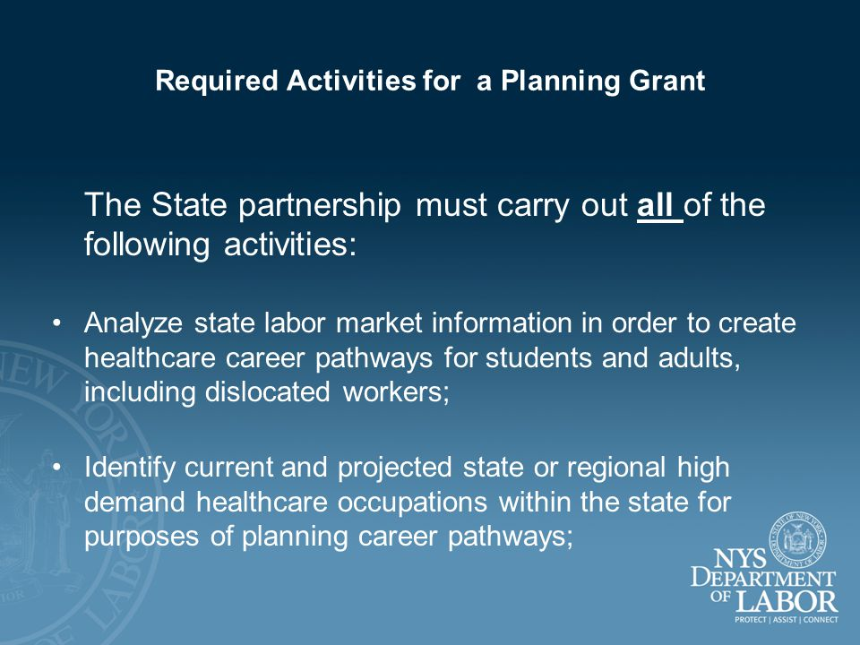 Required Activities - continued Identify existing resources to recruit, educate or train, and retain a skilled healthcare workforce and strengthen partnerships; Describe the academic and healthcare industry skill standards for high school graduation, for entry into postsecondary education, and for various credentials and licensure; Describe State secondary and postsecondary education and training policies, models or practices for the healthcare sector; including career information and guidance.