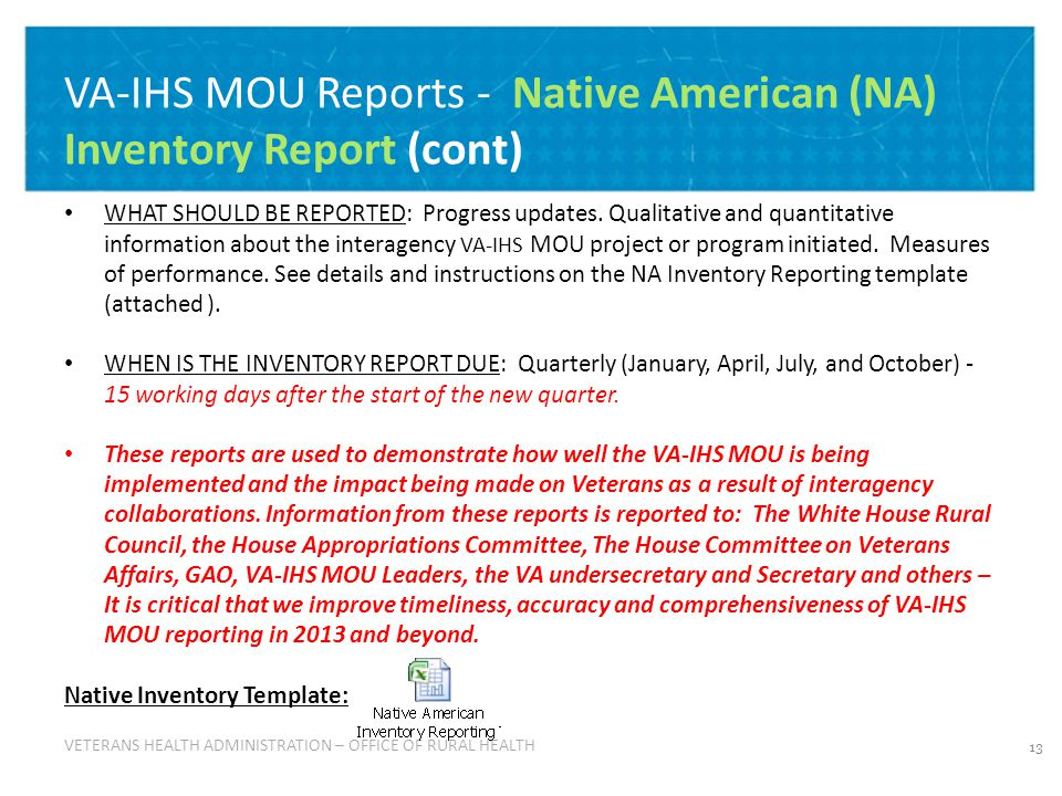 VETERANS HEALTH ADMINISTRATION VETERANS HEALTH ADMINISTRATION – OFFICE OF RURAL HEALTH VA-IHS MOU Reports - Native American (NA) Inventory Report (cont) WHAT SHOULD BE REPORTED: Progress updates.