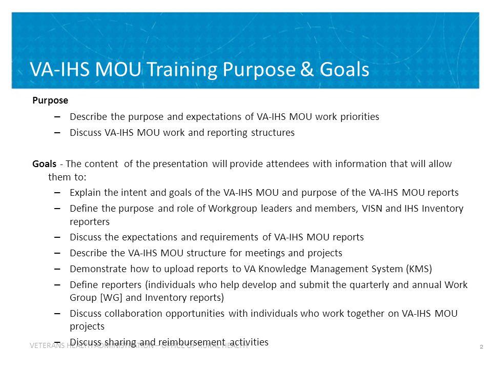 33 Using the ORH Knowledge Management System (KMS) – continued: ORH KMS – VA-IHS MOU Site ORH KMS – VA-IHS MOU Site http://vaww.vha.vaco.portal.va.gov/sites/RuralHealth/qdrive/va-ihs_mou/default.aspx