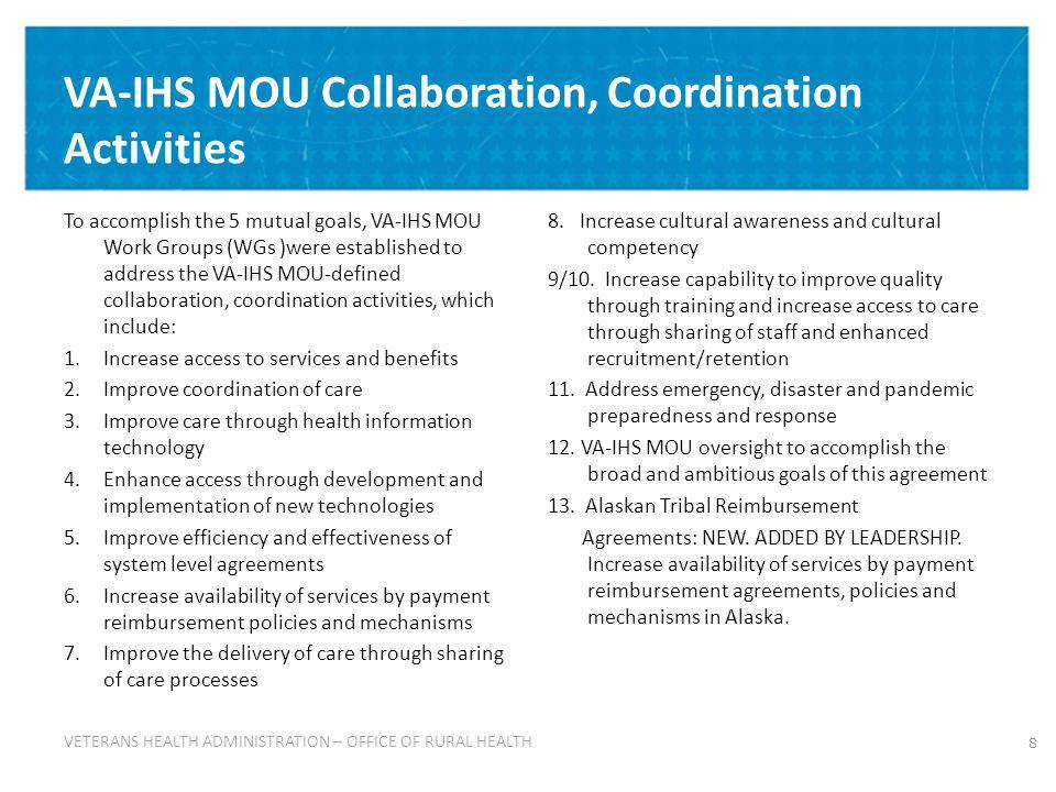 29 Using the ORH Knowledge Management System (KMS) – continued: ORH KMS – VA-IHS MOU Site ORH KMS – VA-IHS MOU Site http://vaww.vha.vaco.portal.va.gov/sites/RuralHealth/qdrive/va-ihs_mou/default.aspx
