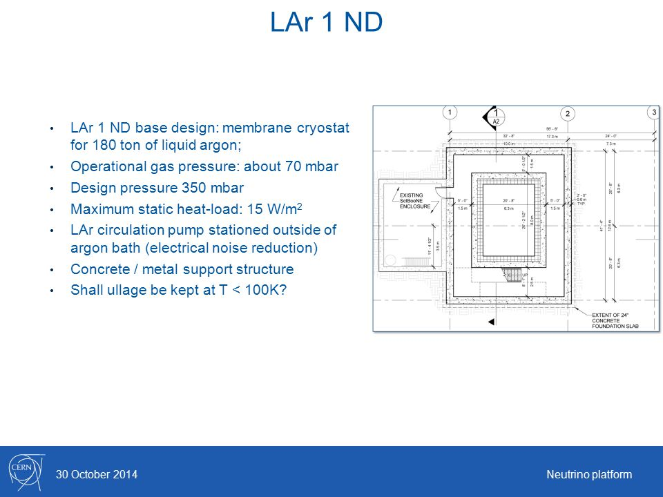 LAr 1 ND 30 October 2014Neutrino platform LAr 1 ND base design: membrane cryostat for 180 ton of liquid argon; Operational gas pressure: about 70 mbar