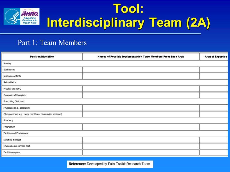 Tool: Interdisciplinary Team (2A) Part 1: Team Members