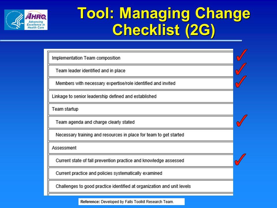 Tool: Managing Change Checklist (2G)