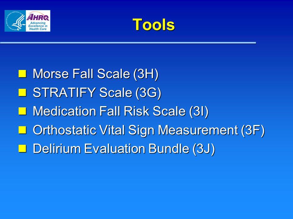 Tools Morse Fall Scale (3H) Morse Fall Scale (3H) STRATIFY Scale (3G) STRATIFY Scale (3G) Medication Fall Risk Scale (3I) Medication Fall Risk Scale (3I) Orthostatic Vital Sign Measurement (3F) Orthostatic Vital Sign Measurement (3F) Delirium Evaluation Bundle (3J) Delirium Evaluation Bundle (3J)