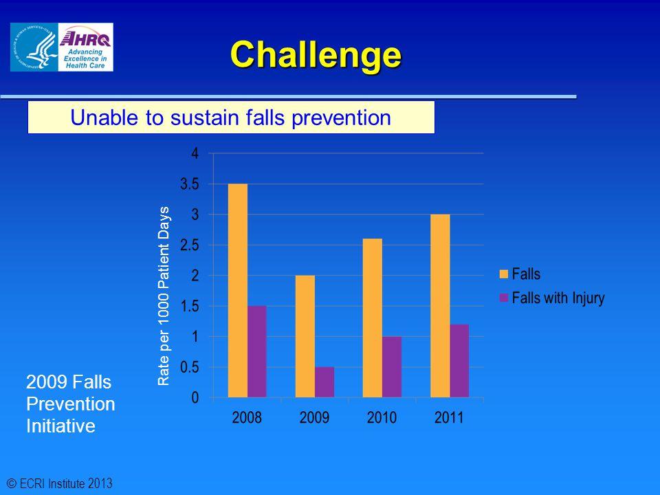 Challenge Unable to sustain falls prevention 2009 Falls Prevention Initiative Rate per 1000 Patient Days © ECRI Institute 2013