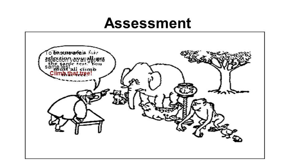 Assessment To ensure a fair XXX selection you all get the same test. XXXXXXX Climb that tree!XXXX XXXXXXXXXXX