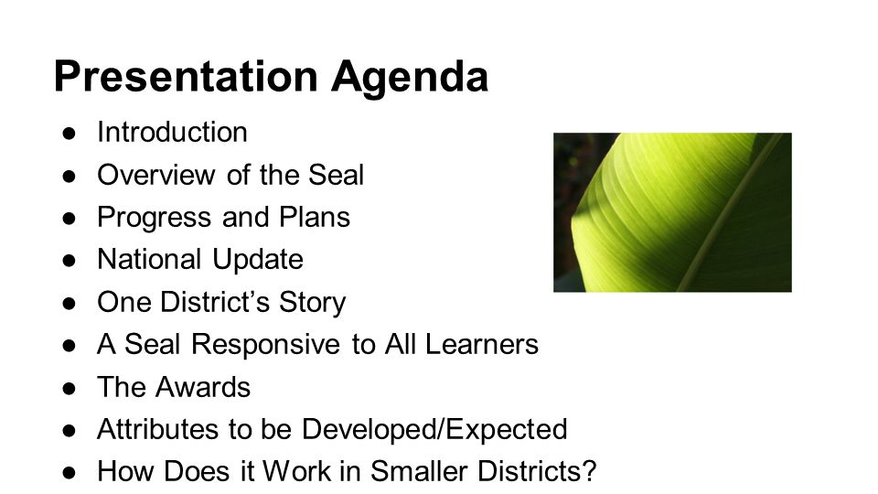 Presentation Agenda ●Introduction ●Overview of the Seal ●Progress and Plans ●National Update ●One District's Story ●A Seal Responsive to All Learners