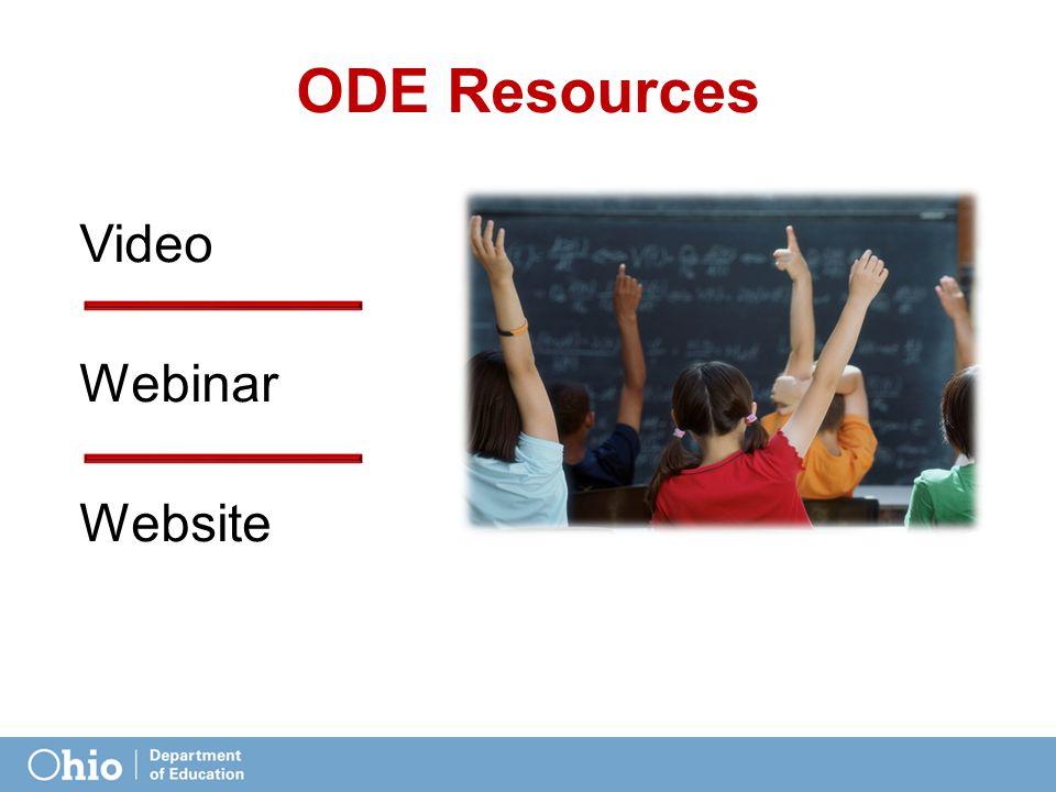 ODE Resources Video Webinar Website