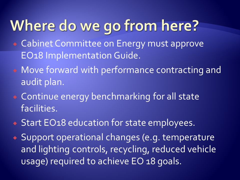  Cabinet Committee on Energy must approve EO18 Implementation Guide.