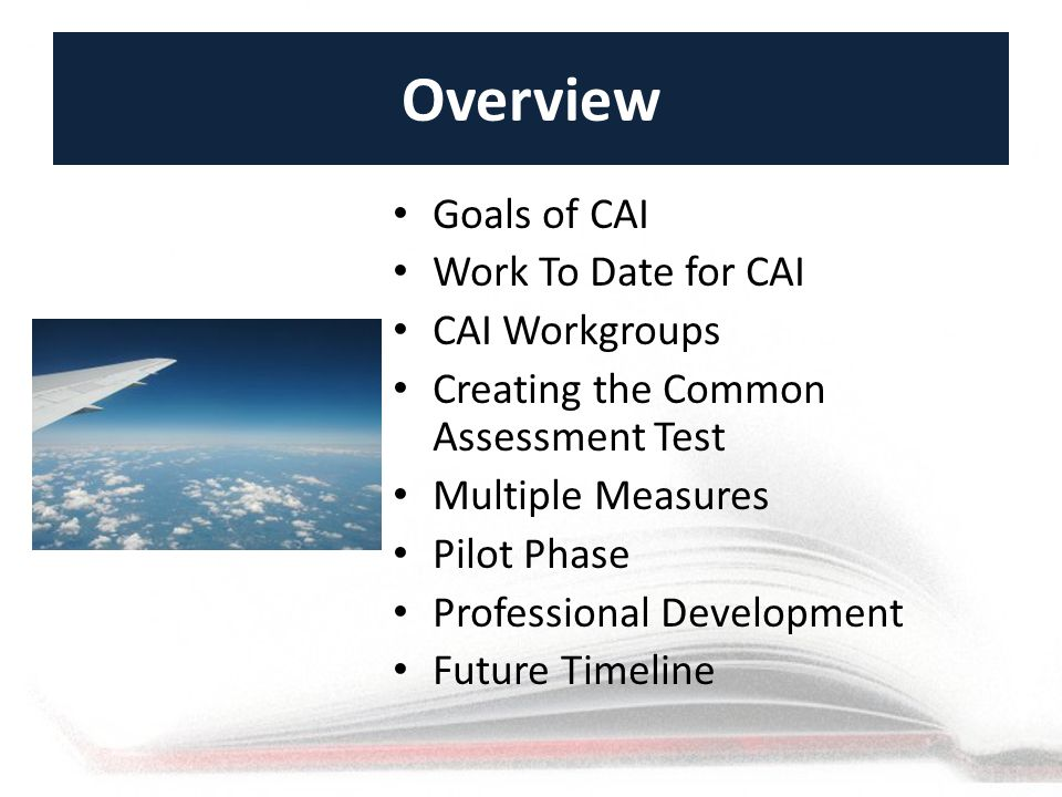Overview Goals of CAI Work To Date for CAI CAI Workgroups Creating the Common Assessment Test Multiple Measures Pilot Phase Professional Development Future Timeline