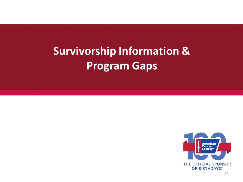 Survivorship Information & Program Gaps 10