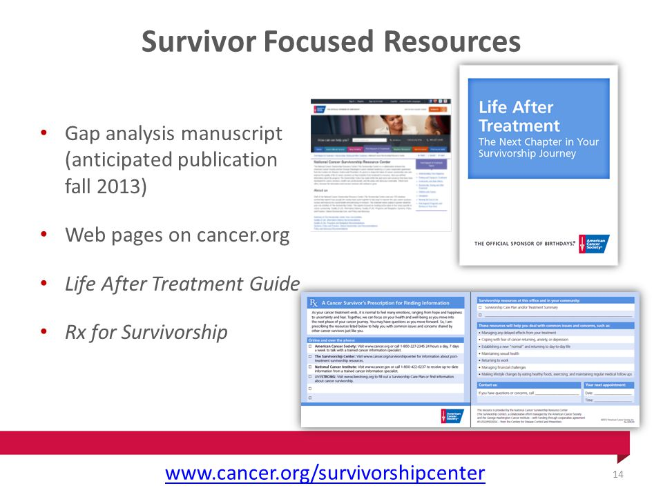 Survivor Focused Resources Gap analysis manuscript (anticipated publication fall 2013) Web pages on cancer.org Life After Treatment Guide Rx for Survivorship www.cancer.org/survivorshipcenter 14