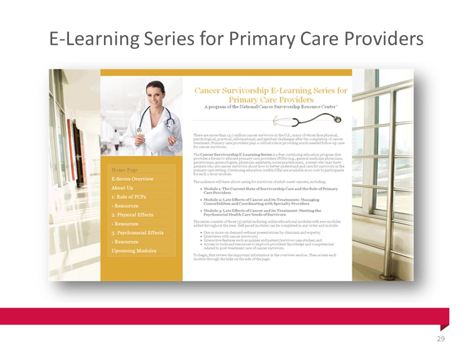 E-Learning Series for Primary Care Providers 29