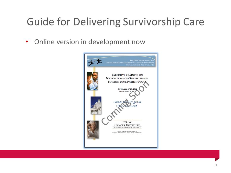 Guide for Delivering Survivorship Care Online version in development now Coming Soon 31