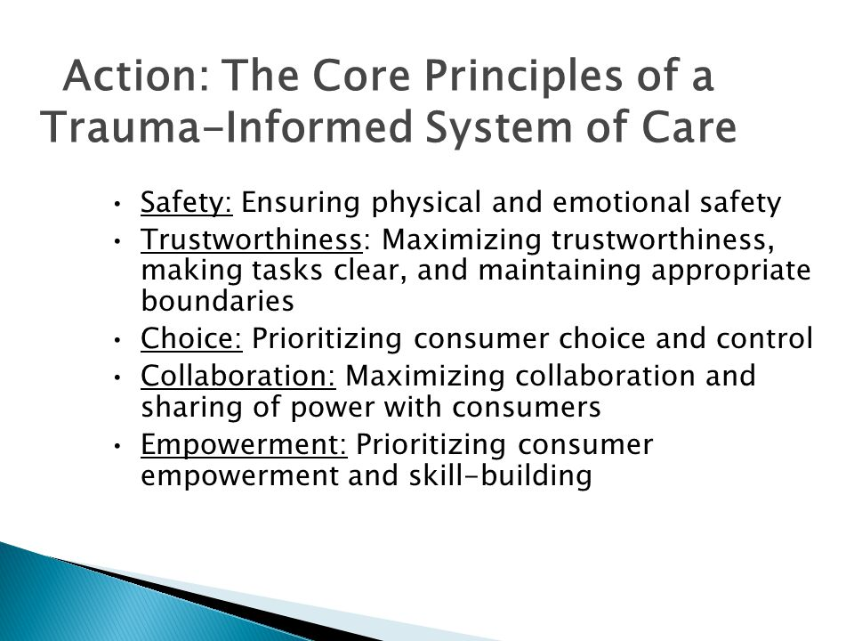 Action: The Core Principles of a Trauma-Informed System of Care Safety: Ensuring physical and emotional safety Trustworthiness: Maximizing trustworthiness, making tasks clear, and maintaining appropriate boundaries Choice: Prioritizing consumer choice and control Collaboration: Maximizing collaboration and sharing of power with consumers Empowerment: Prioritizing consumer empowerment and skill-building