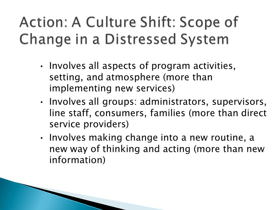 Involves all aspects of program activities, setting, and atmosphere (more than implementing new services) Involves all groups: administrators, supervisors, line staff, consumers, families (more than direct service providers) Involves making change into a new routine, a new way of thinking and acting (more than new information)