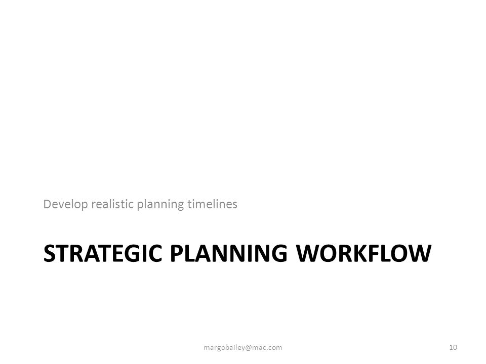 STRATEGIC PLANNING WORKFLOW Develop realistic planning timelines 10margobailey@mac.com