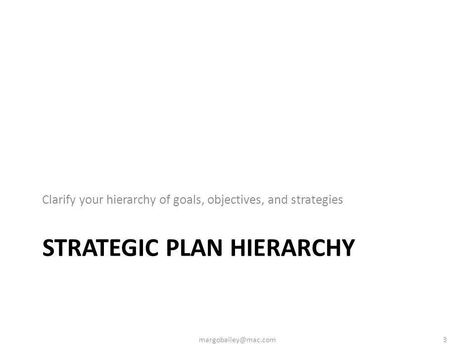 A Living Plan - Framework For Implementation Evaluate Re-Align Vision Mission Goals Objectives Strategies Actions Progress Reports Reports on action step progress, successes, and challenges Activities that will be done to achieve your objectives Choices about how to best accomplish objectives Changes, outcomes, and impact a plan is trying to achieve Broad initiatives that enable a plan's mission and vision to be realized Goal/Strategy Strategic initiative Objective/Action Activities 4 margobailey@mac.com