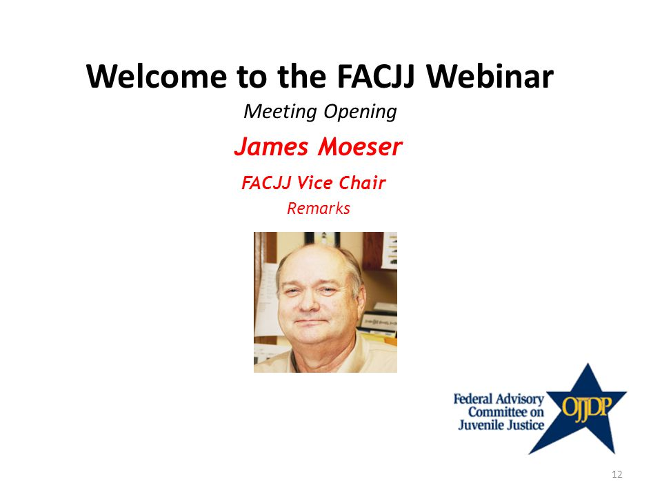 Welcome to the FACJJ Webinar Meeting Opening James Moeser FACJJ Vice Chair Remarks 12