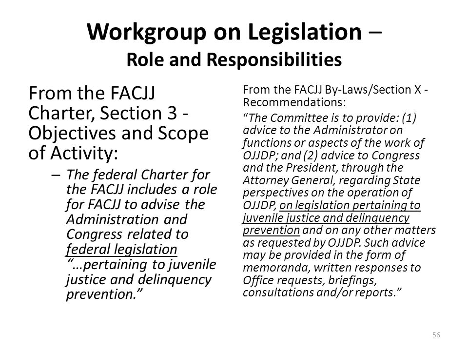 Workgroup on Legislation – Role and Responsibilities From the FACJJ Charter, Section 3 - Objectives and Scope of Activity: – The federal Charter for the FACJJ includes a role for FACJJ to advise the Administration and Congress related to federal legislation …pertaining to juvenile justice and delinquency prevention. From the FACJJ By-Laws/Section X - Recommendations: The Committee is to provide: (1) advice to the Administrator on functions or aspects of the work of OJJDP; and (2) advice to Congress and the President, through the Attorney General, regarding State perspectives on the operation of OJJDP, on legislation pertaining to juvenile justice and delinquency prevention and on any other matters as requested by OJJDP.